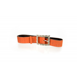 58_orange cork and leather belt